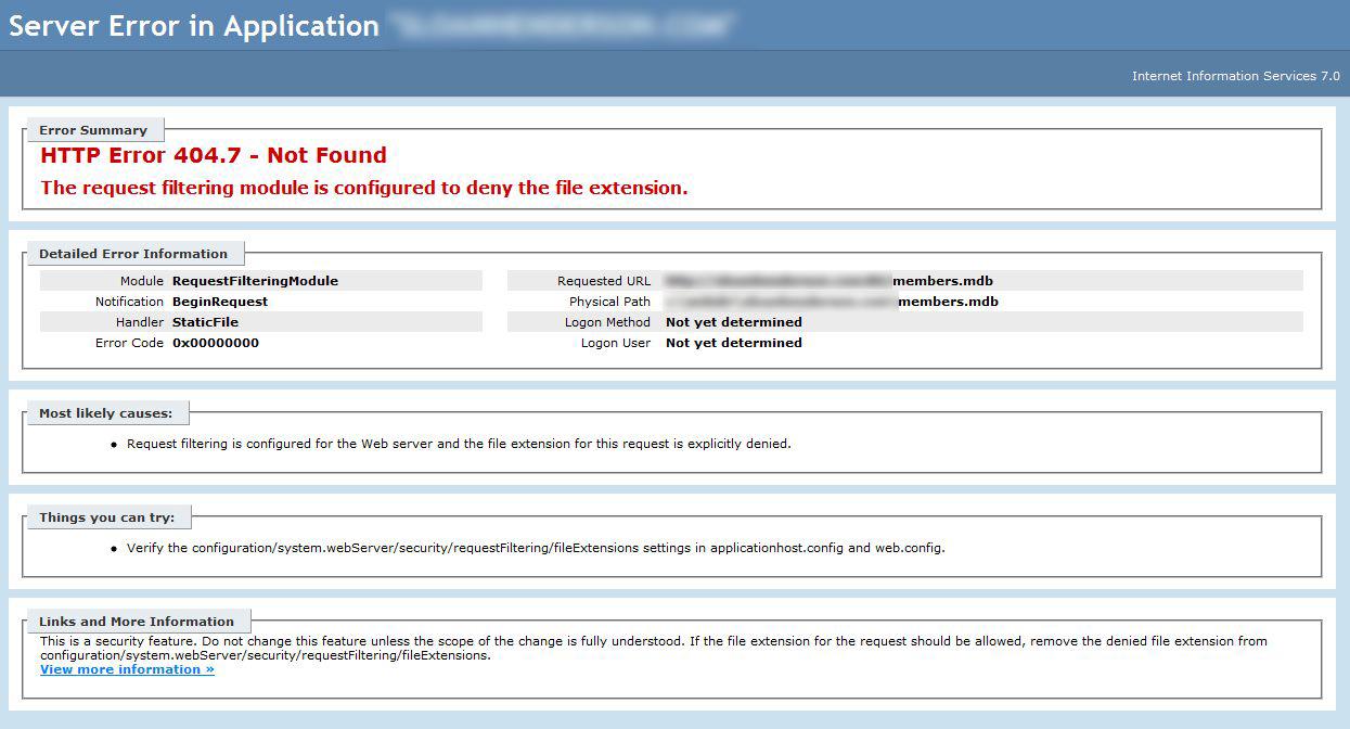 IIS 7 Not Serving Files - 404 7 Error :: Adam W  Lewis